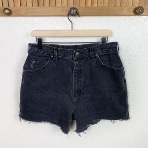 Vintage Riders Faded Black High Rise Cut Off Short